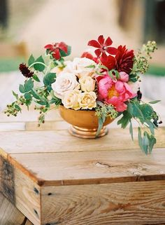 flowers in gold bowl centerpiece - Google Search