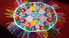 Antique MATYO  EMBROIDERED TABLECLOTH  Hungarian-round colorful  Art Nouveau
