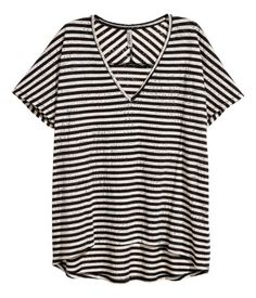 Burnout-patterned top | Beige/Black striped | Ladies | H&M CY