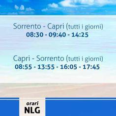 Buona giornata a tutti! Oggi menzioniamo gli orari, validi fino al 3 Novembre, della linea Sorrento - Capri che garantisce quotidianamente i collegamenti da e verso l´Isola Azzurra. Per maggiori info su servizi, orari ed acquisto di biglietti on line visitate il nostro sito alla pagina www.navlib.it