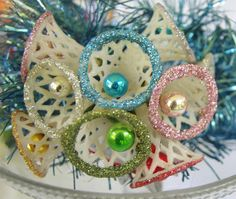 Vintage Christmas 1950s Lattice Bells with Mercury Glass Centres and Coloured Glitter Ornaments, Decorations