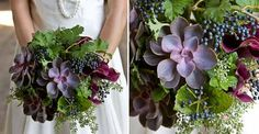 bridal bouquet designed by Passionflower, Michigan. Bridal bouquet of succulents, privet and calla lilies.