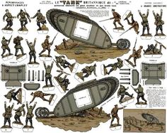 This really old paper model depicting a scene from the First World War , was preserved and is now shared by the modeler Valmy 33 , via Le ...