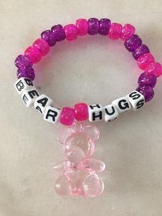 1 Kandi Single, Pink Bear Kandi Bracelet Source by etsy Rave Bracelets, Pony Bead Bracelets, Candy Bracelet, Pony Beads, Cute Jewelry, Diy Jewelry, Beaded Jewelry, Jewellery, Friendship Bracelet Patterns
