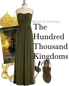 the hundred thousand kingdoms, Long, dark green summer dress, with gold accessories and brown sandals :D