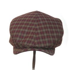CABBIE~ rust & khaki vintage worsted wool plaid - Rosehip Hat Studio