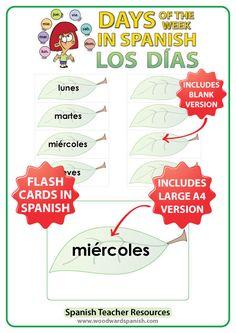 Spanish Flash Cards – Days of the week in Spanish - Tarjetas con los días de la semana en español - Spanish Teacher Resources