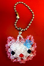 Beaded Hello Kitty Version 1 Pattern by Allegra; this website (3dbeading) has tons of cute 3d animals, hearts, etc. bead weaving instructions. these can be used on necklaces, keychains, etc.