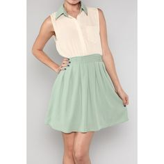 Pastel Whispers Two Toned Dress with Collar Tips in Sage/Cream |... ($40) ❤ liked on Polyvore featuring dresses, green color dress, sage green dress, pastel green dress, 2 tone dress and sage dress