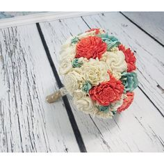 BIG coral reef mint cream ivory brown rustic beach summer wedding... ($135) ❤ liked on Polyvore featuring home, home decor, floral decor, flower stem, cream rose bouquet, rose bouquets, rose home decor and flower home decor