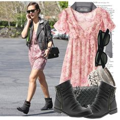 Jessica Alba. Frilly dress with leather jacket and moto boots via Polyvore