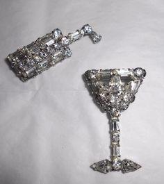 RARE Vintage Rhinestone WEISS COCKTAIL SET Layered Rhinestone Pin Brooch #Weiss