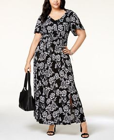 d9c69b0c20188 INC International Concepts I.N.C. Plus Size Printed Flutter-Sleeve Maxi  Dress
