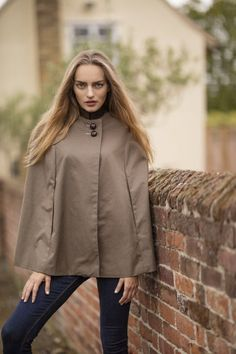 Evemy and Evemy luxury ladies Barley British cotton cape. Hand cut and handmade in England. Luxury womens tweed collar cape perfect for your town and country lifestyle. Country Lifestyle, Country Fashion, Capes For Women, My Wardrobe, Tweed, Lust, Celtic, Taupe, Raincoat