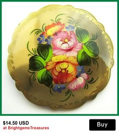 """Russian Brooch Pin Tole Enamel Ware Hand Painted Flower Bouquet Designer Signed 2"""" Vintage"""