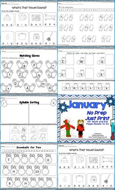 January No Prep Just Print over 40 pages of Math and Literacy Activities
