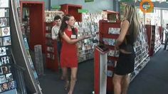 Chicken fights in the CD shop - sexy funny hidden camera