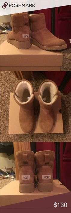 """Kristen UGG boots UGG classic women's Kristen, with box, size 7.5, chestnut  DETAILS: * Pretreated Twinface and suede  * Sheepskin lining  * UGGpure™ wool insole  * Added arch support  * Treadlite by UGG™  * 5.5"""" shaft height  * 1.5"""" wedge Super comfortable and have great arch support. Worn twice. Fits a little small. UGG Shoes Ankle Boots & Booties"""