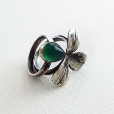 leaf pair rings in silver and agate-ALANGOO