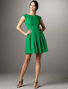 New Girl style: Shoshanna Kelly Green Cap-Sleeve Full-Skirt Dress