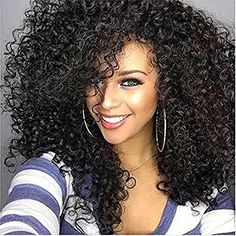 QBSM Kinky Curly Long Hair Wigs Fluffy Wavy Synthetic Heat Resistant Wigs for Women Cosplay Costume Wigs with Wig Cap and Stand (Black) www.justforu777.com