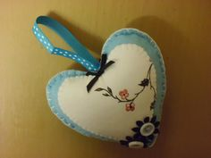 Felt and fabric decorated heart in blue with by Madeinthehoose
