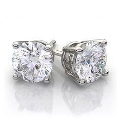 Diamond Stud Earrings in 14k White Gold (1 1/2 ct. tw.) – Popular Diamonds