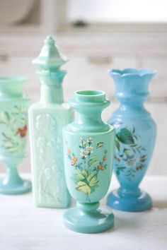 Paint glass plates  /vintage aqua & mint lovelies