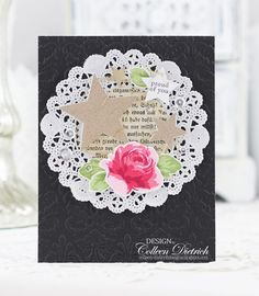 A Graduation Rose | Colleen Dietrich Designs - handmade greeting card using Vintage Roses from Altenew, a paper doily, sparkling stars (dies from Wplus9), and Tiny Tags / Papertrey Ink for the sentiment and little star tag. Sequins from Pretty Pink Posh.