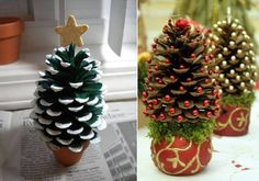 left one looks easy, small flower pot (very small) hot glue gun, pine cone and a wood star, a little paint, glitter and voila, On the right one I am wondering if the base was a candle (already decorated) , florists moss and trying to figure out the beads....