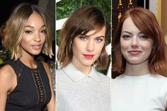 Jourdan Dunn, Alexa Chung and Emma Stone. A trio of bobs. Photos: Dimitrios Kambouris, Mike Marsland and Robin Marchant/Getty Images