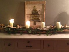 Advent candle holder from wine barrel stave (made by WeinARTig)