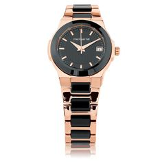 Bargain - $399 (was $529) - Ladies Watch in Black Ceramic & Rose Tone Stainless Steel @ Michael Hill