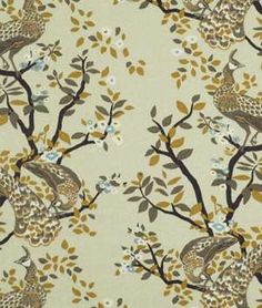 Vintage Plumes Birch Floral Printed Drapery Fabric by DwellStudio for Robert Allen - - Fabric By The Yard At Discount Prices Drapery Fabric, Drapes Curtains, Textile Prints, Floral Prints, Pattern Texture, Robert Allen Fabric, Home Decor Fabric, Cool Fabric, Decoration Table