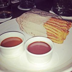 Dessert time! Fresh, warm churros with caramel and chocolate sauce. Yes, please!