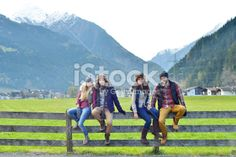 Young friends together at winter time Royalty Free Stock Photo