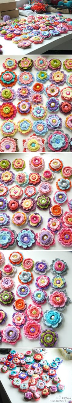 #Crocheted #flowers