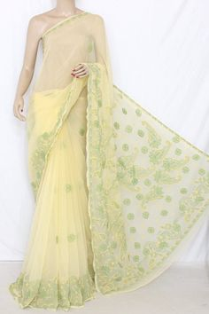 Yellow Designer Hand Embroidered Lucknowi Chikankari Saree with Applique Work (With Blouse - Georgette) 13739