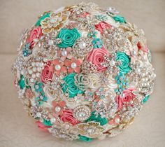 Brooch bouquet. Deposit on a Coral, Ivory and Mint wedding brooch bouquet, Jeweled Bouquet. Made upon request