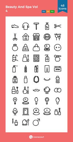 Beauty And Spa Vol 4  Icon Pack - 48 Handdrawn Icons