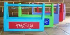 messy mimi: Colorful Wooden Tool Boxes with a Little bit Of Chalkboard Paint!