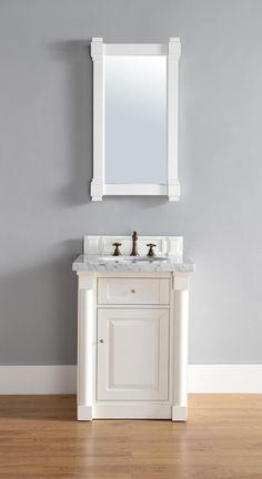 Web Image Gallery Abstron inch White Finish Single Sink Bathroom Vanity Optional Countertop