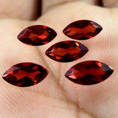 3.7 Carat 4x8 MM Natural Mozambique Red Garnet Marquise Cut Shape Loose gemstone #Unbranded