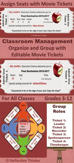Use the 100 editable movie tickets and materials in this resource to organize and manage as well as add fun to mundane tasks such as assigning seats, formulating lines, and grouping students. Use this in conjunction with the 5 Get to Know You Activities with Movie Tickets found in this resource: www.pinterest.com...