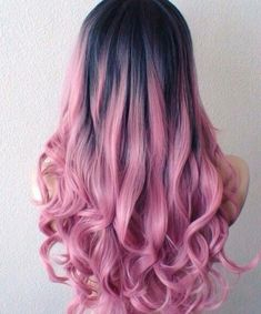 Charcoal and cotton candy pink ombré hair