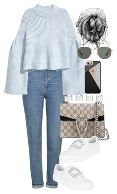 Untitled #4046 by lily-tubman on Polyvore featuring polyvore, fashion, style, Topshop, Roger Vivier, Gucci, Maison Margiela, Casetify, Ray-Ban and clothing