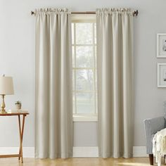 Sun Zero Hayden Rod Pocket Blackout Panel (Pearl - 84 Inches), Beige, Off-White (Polyester, Solid) Cool Curtains, Grey Curtains, Rod Pocket Curtains, Hanging Curtains, Window Curtains, Curtain Panels, Kitchen Curtains, Layered Curtains