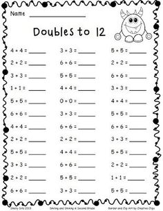 Adding Doubles and a Freebie -To develop speed on this important skill, see how many your students can complete in two minutes…give the test once a week and chart growth (also good to use as a graphing activity!):