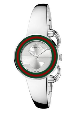 Interlocking logo letters are displayed on the sleek sunray dial of a numberless watch designed with an interchangeable bangle and bezel for versatile styling. Color(s): silver. Brand: Gucci. Style Name: Gucci 'U Play' Steel Bangle Watch, 27mm. Style Number: 371865. #gucci #coupay #coupons