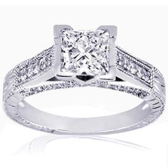 Princess Cut Diamond Engagement Ring Vintage Cathedral Style Pave Set